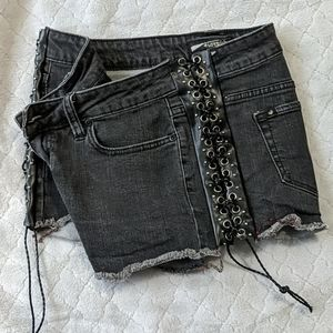 Lovesick Altered Shorts w/pleather corset sides